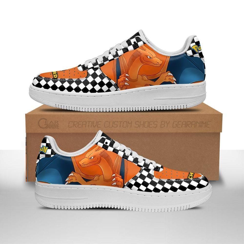 Poke Charizard Air Shoes Checkerboard Custom Pokemon Shoes GO1012