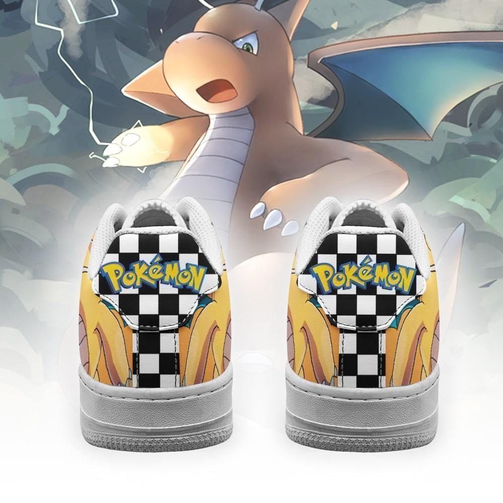 Poke Dragonite Air Shoes Checkerboard Custom Pokemon Shoes GO1012