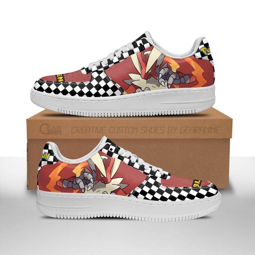 Poke Blaziken Air Shoes Checkerboard Custom Pokemon Shoes GO1012