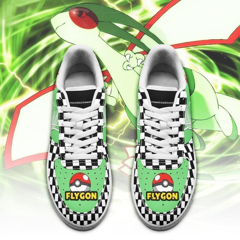 Poke Flygon Air Shoes Checkerboard Custom Pokemon Shoes GO1012