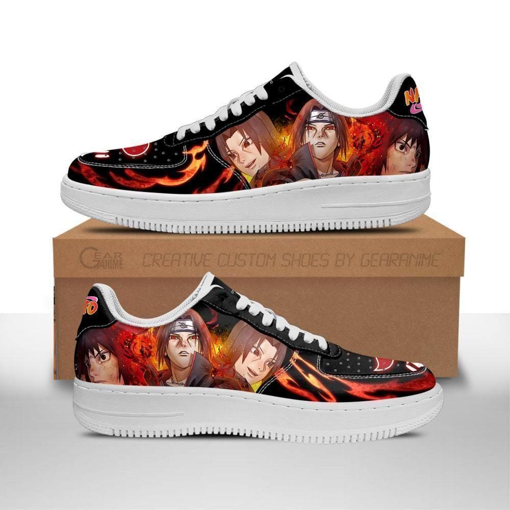 Akatsuki Itachi Air Shoes Custom Naruto Anime Shoes Leather GO1012
