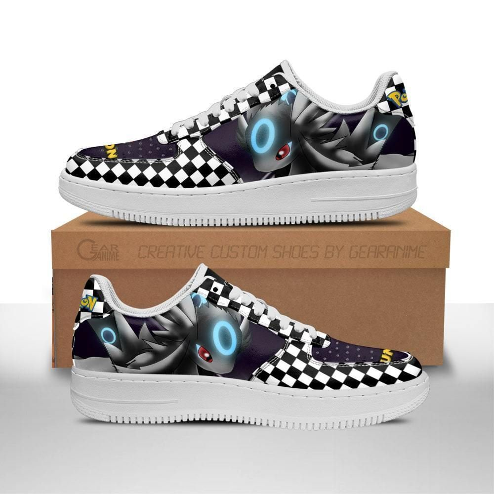 Poke Umbreon Air Shoes Checkerboard Custom Pokemon Shoes GO1012