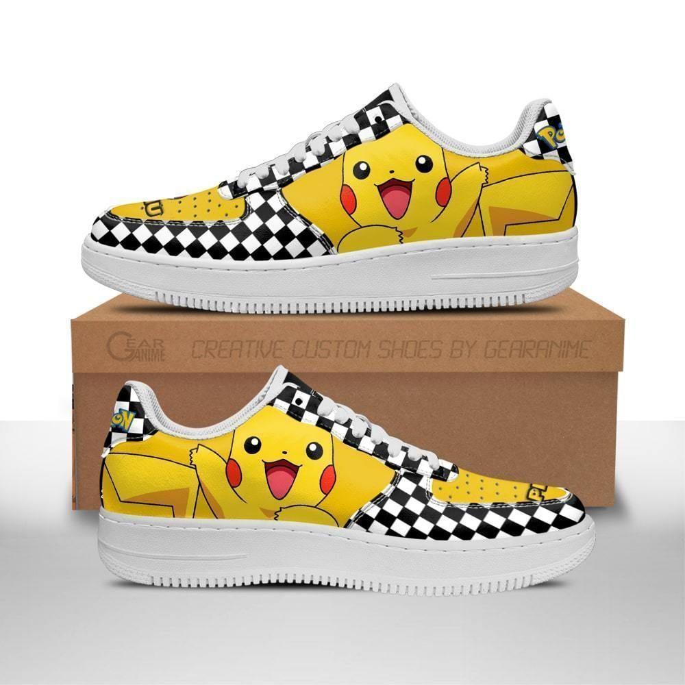 Poke Pikachu Air Shoes Checkerboard Custom Pokemon Shoes GO1012