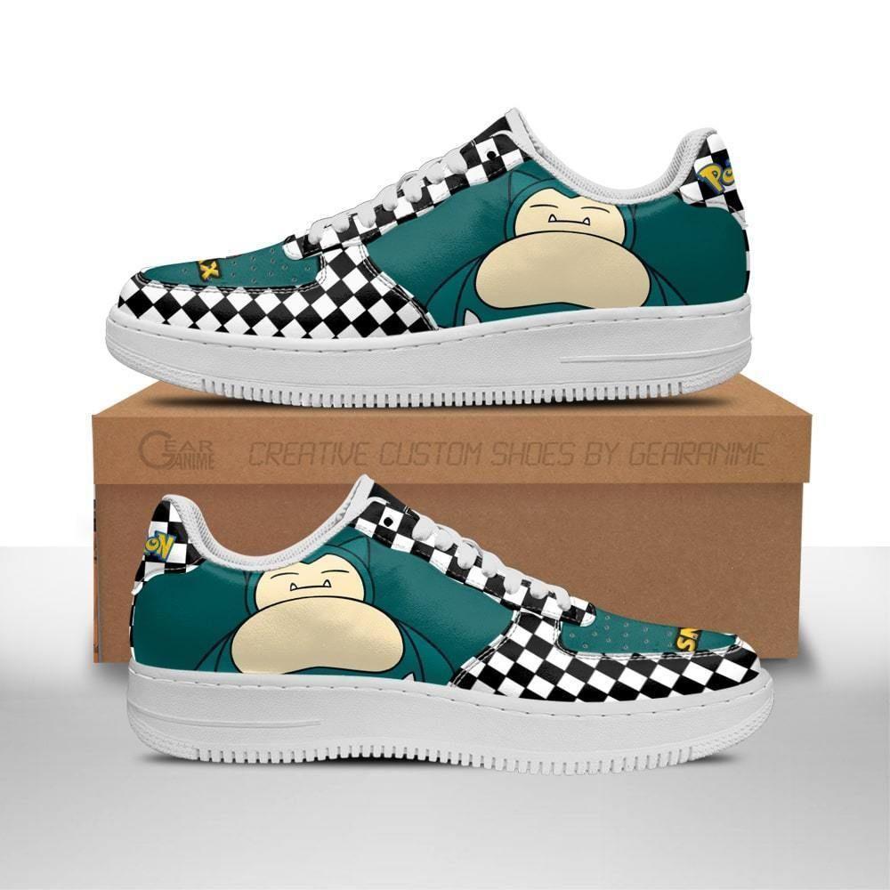 Poke Snorlax Air Shoes Checkerboard Custom Pokemon Shoes GO1012