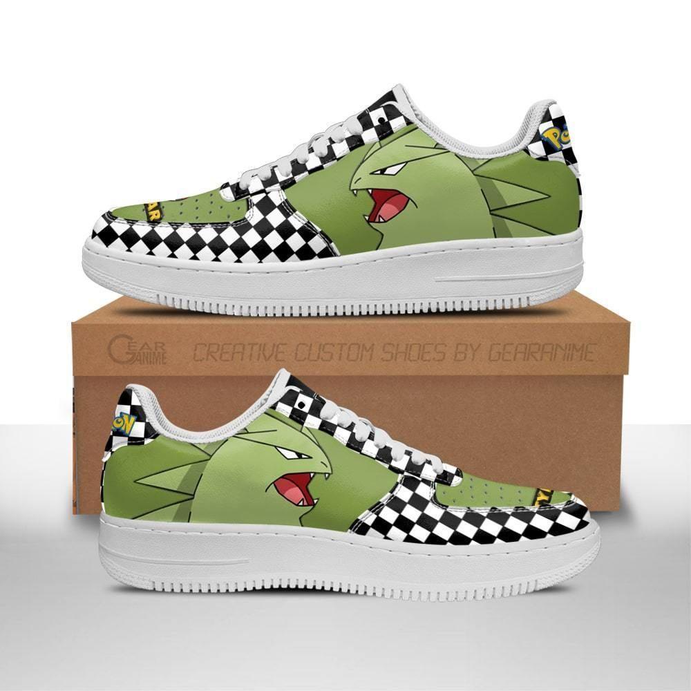 Poke Tyranitar Air Shoes Checkerboard Custom Pokemon Shoes GO1012
