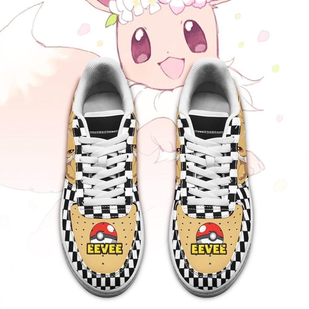 Poke Eevee Air Shoes Checkerboard Custom Pokemon Shoes GO1012