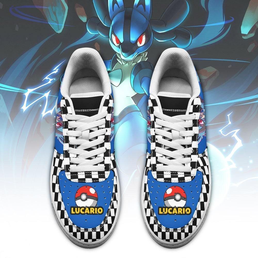 Poke Lucario Air Shoes Checkerboard Custom Pokemon Shoes GO1012