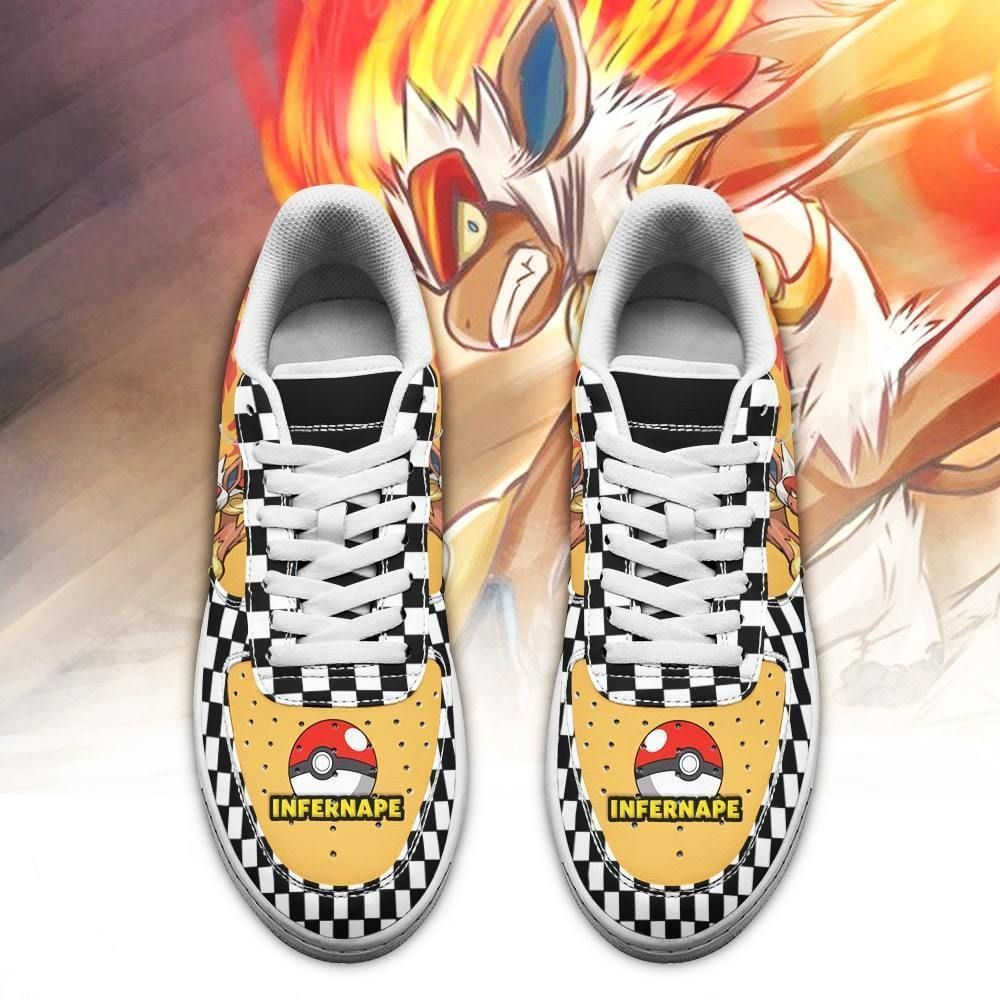 Poke Infernape Air Shoes Checkerboard Custom Pokemon Shoes GO1012