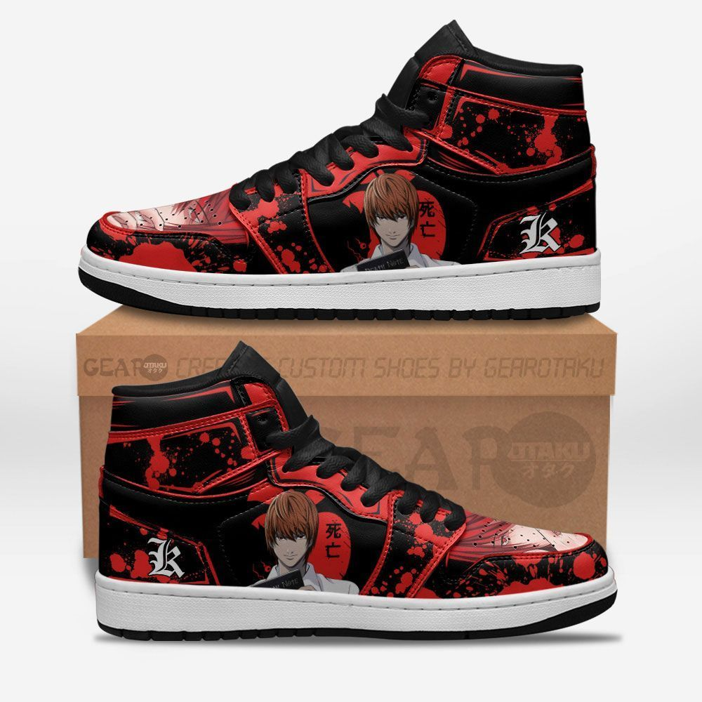 Death Note Shoes Sneakers Light Yagami Red Ver Custom Anime Shoes GO1210