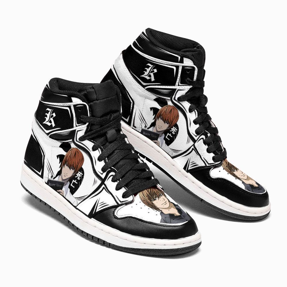 Death Note Shoes Sneakers Light Yagami White Custom Anime Shoes GO1210