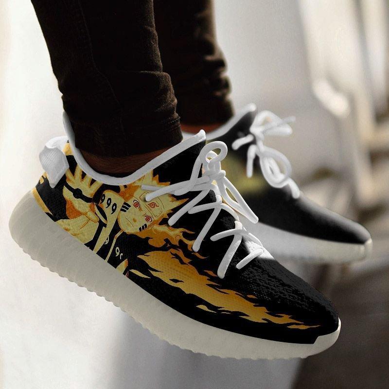 Kurama Naruto Sneakers Bjuu Mode Custom Anime Shoes G01210