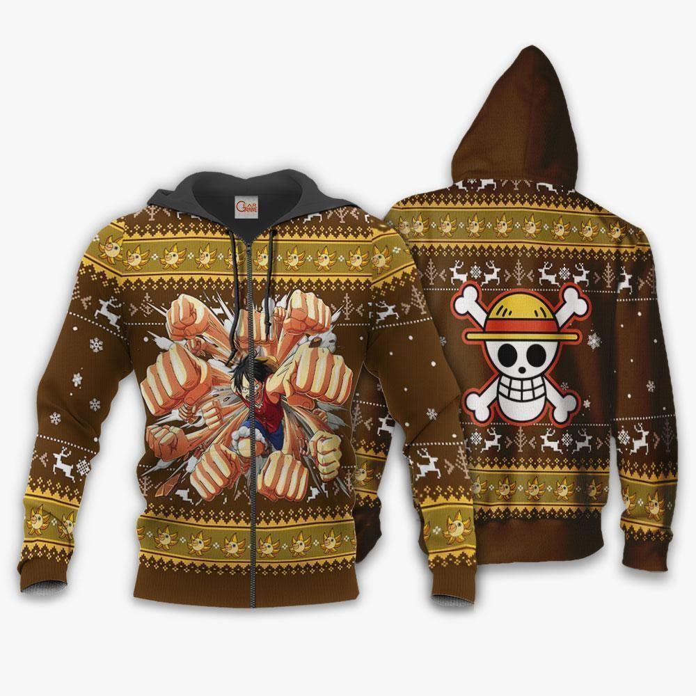 Luffy Gomu Gomu Ugly Sweater Xmas One Piece Anime Chrismast GO0110