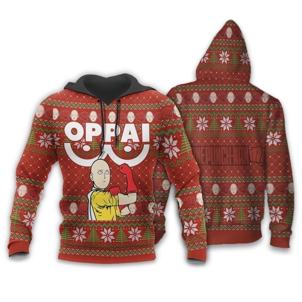 Saitama Oppai Ugly Christmas Sweater One Punch Man Anime Xmas GO0110