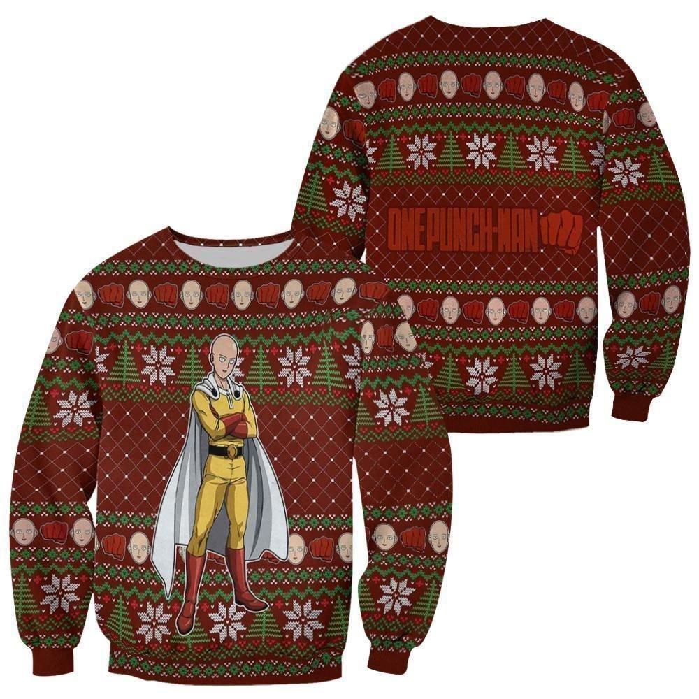 Saitama Ugly Christmas Sweater One Punch Man Anime Xmas Gift GO0110