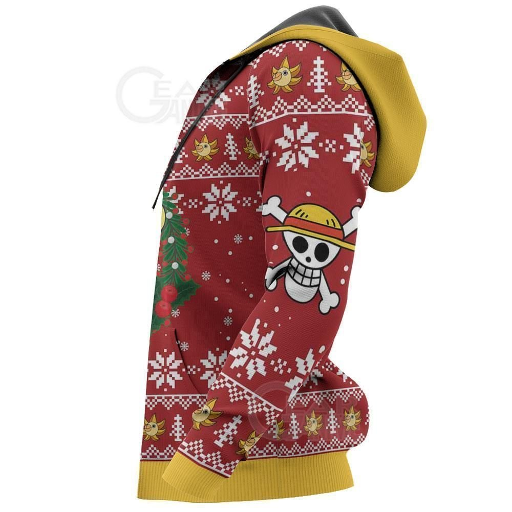 Luffy Ugly Christmas Sweater Funny Face One Piece Anime Xmas GO0110