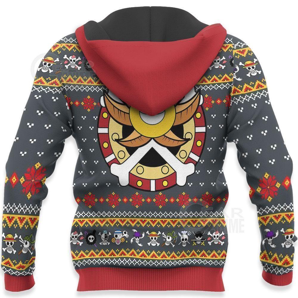 One Piece Ugly Christmas Sweater Straw Hat Priate Xmas Hoodie GO0110
