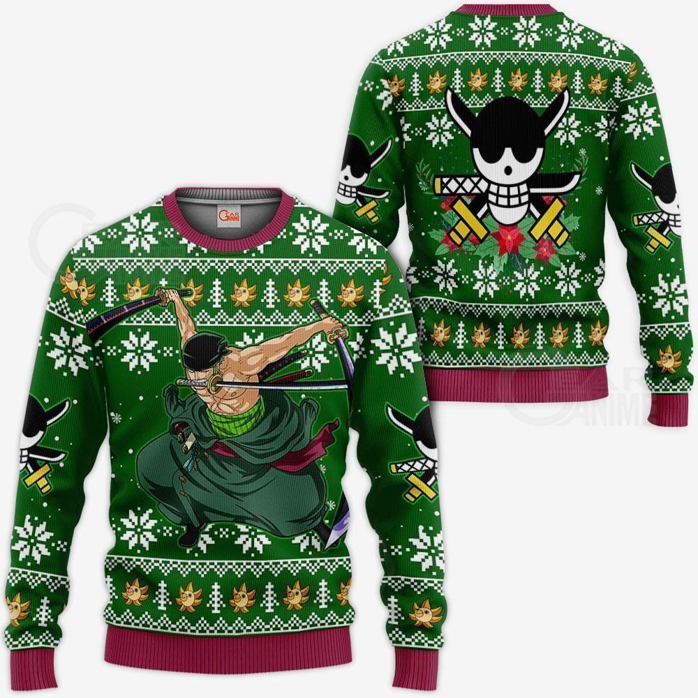 Zoro Ugly Christmas Sweater One Piece Anime Xmas GO0110
