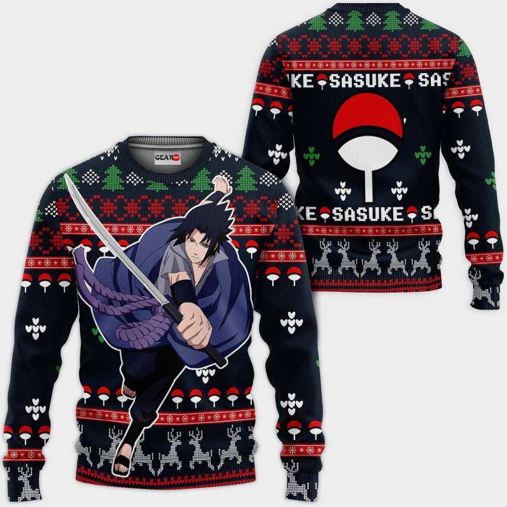 Uchiha Sasuke Ugly Christmas Sweater Custom Naruto Anime Xmas Gifts GO0110