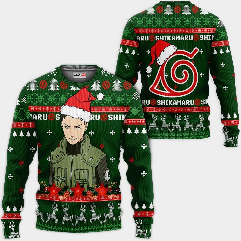 Shikamaru Ugly Christmas Sweater Custom Naruto Anime Xmas Gifts GO0110