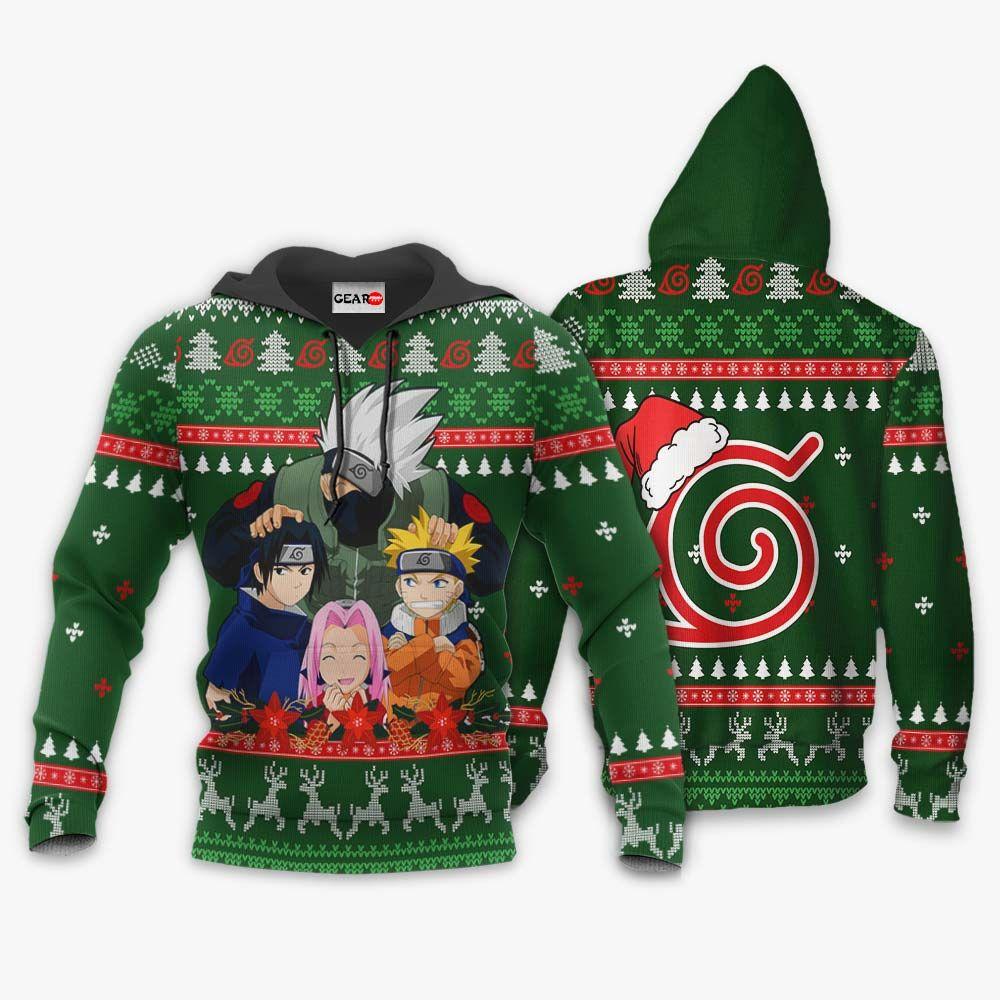 Kakashi Team 7 Ugly Christmas Sweater Custom Naruto Anime Xmas Gifts GO0110