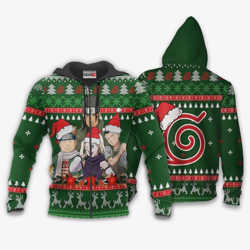 Konoha Team 10 Ugly Christmas Sweater Custom Naruto Anime Xmas Gifts GO0110