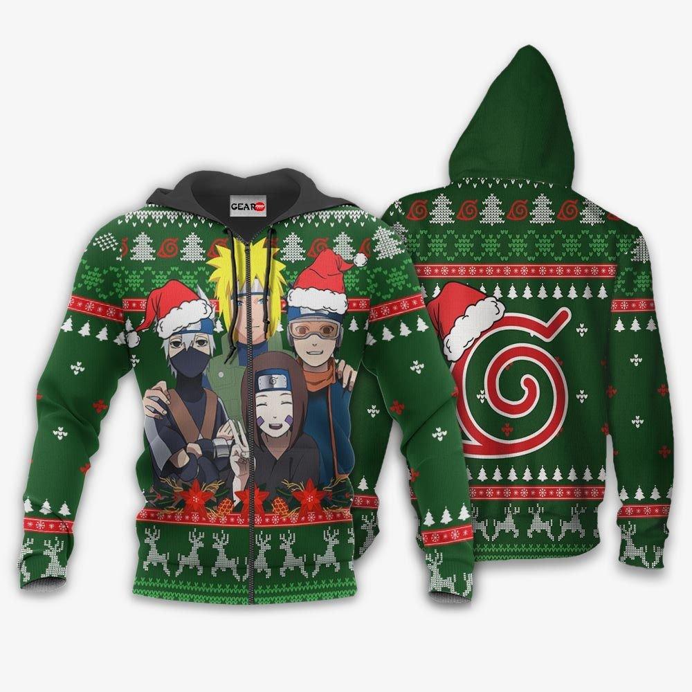 Konoha Team Minato Ugly Christmas Sweater Custom Naruto Anime Xmas Gifts GO0110