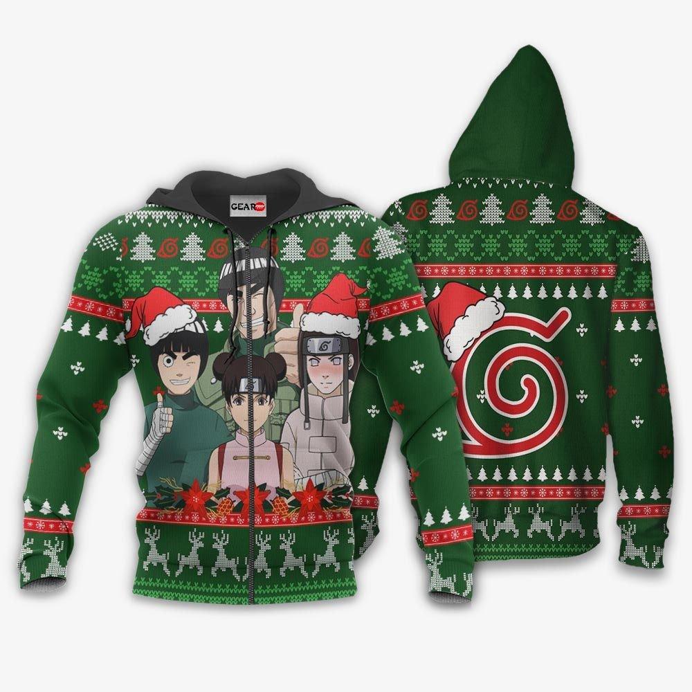 Konoha Team Guy Ugly Christmas Sweater Custom Naruto Anime Xmas Gifts GO0110