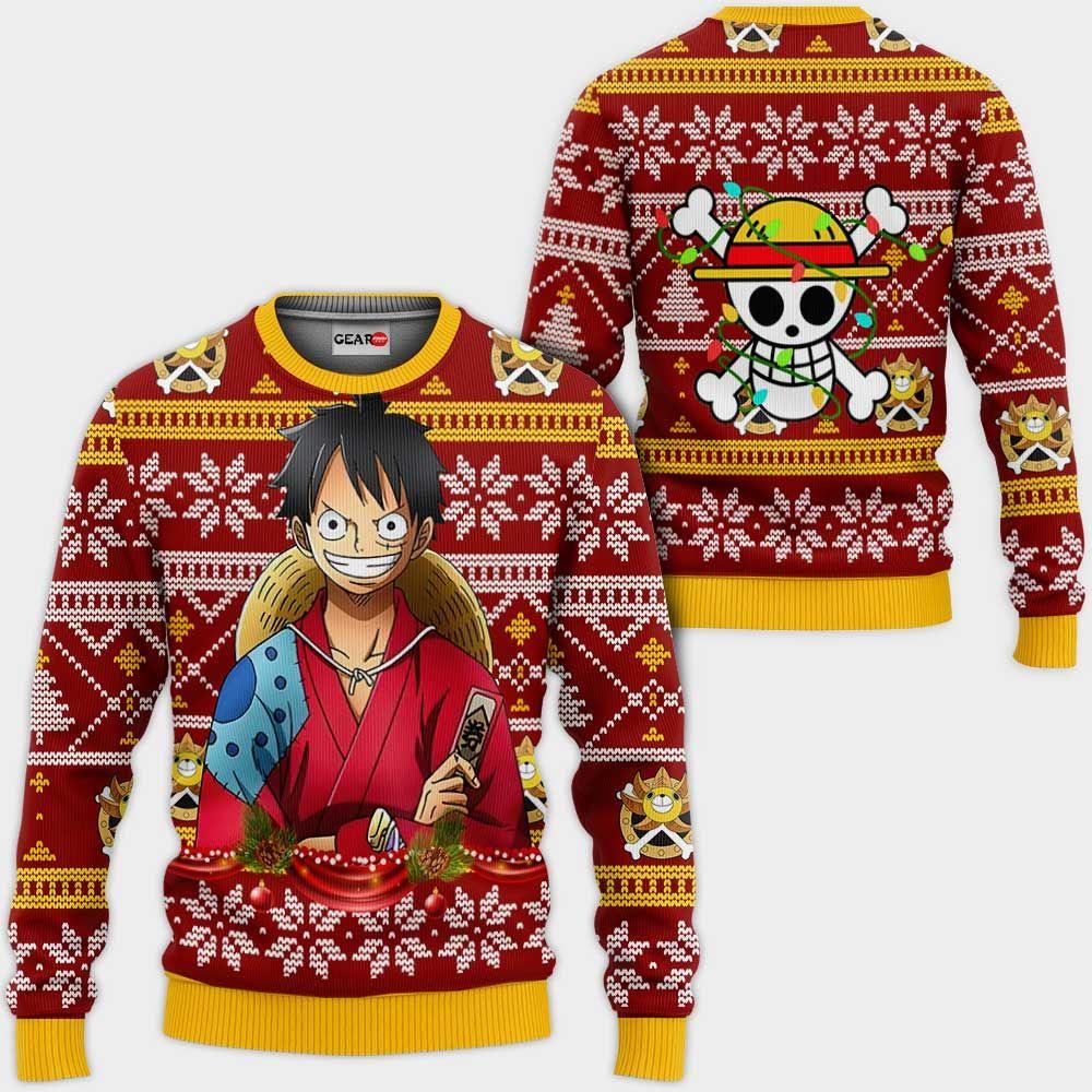 Luffy Ugly Christmas Sweater Custom Wano One Piece Anime Xmas Gifts GO0110