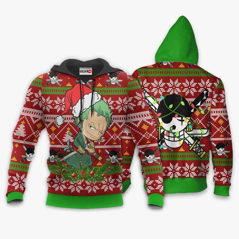 Zoro Ugly Christmas Sweater Custom One Piece Anime Xmas Gifts GO0110