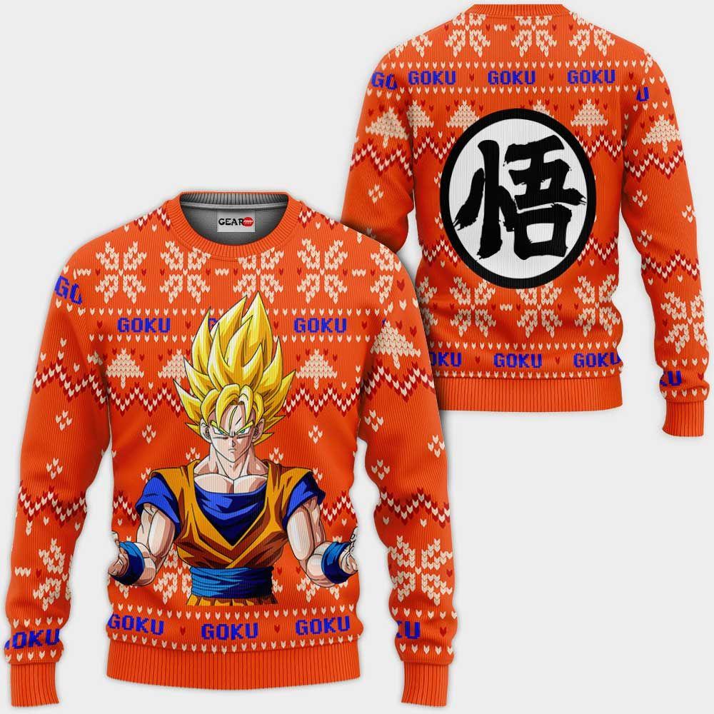Goku Super Saiyan Christmas Sweater Custom Anime Dragon Ball Xmas Gifts GO0110