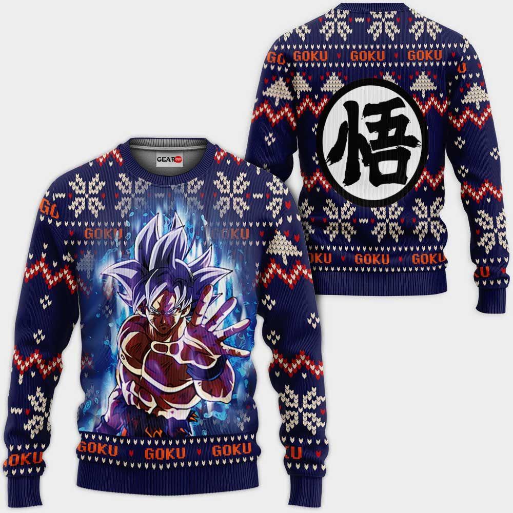 Goku Ultra Instinct Christmas Sweater Custom Anime Dragon Ball Xmas Gifts GO0110