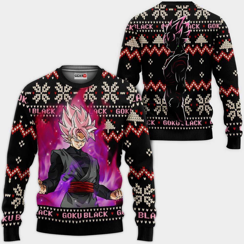 Goku Black Rose Christmas Sweater Custom Anime Dragon Ball Xmas Gifts GO0110