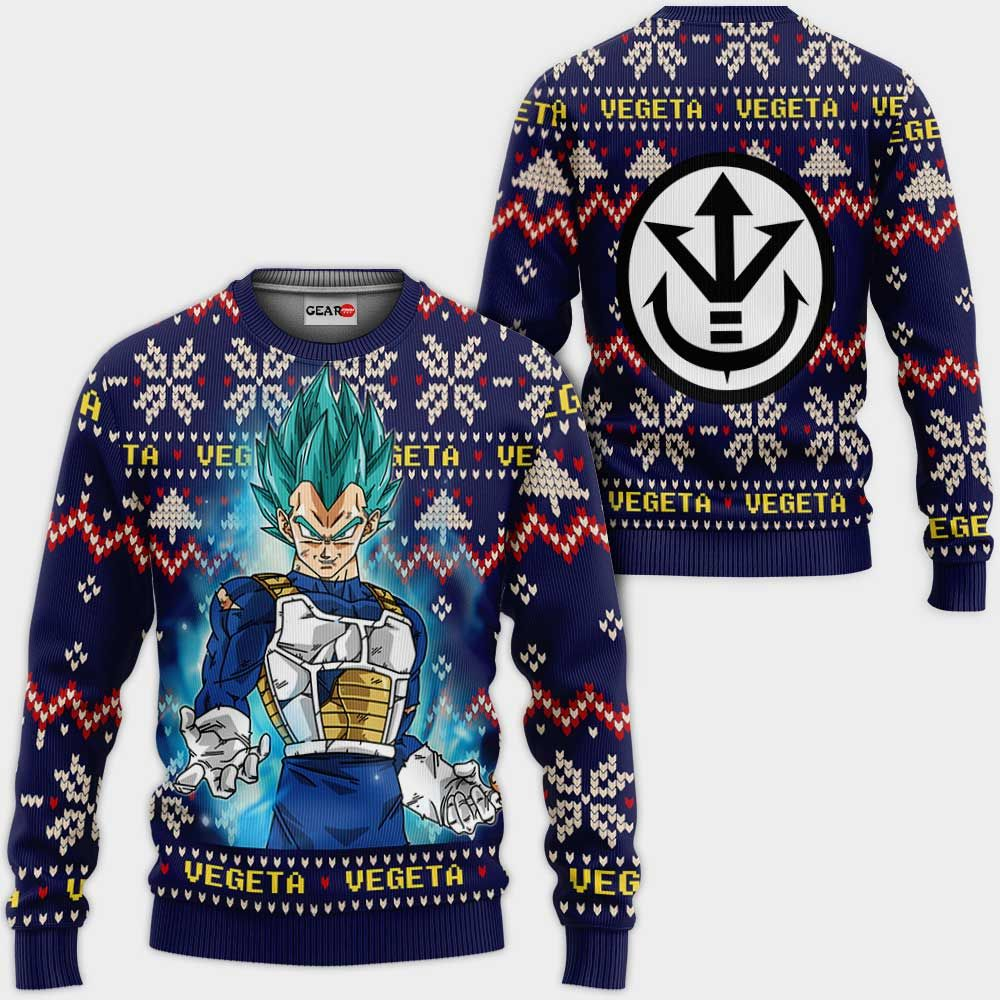 Vegeta Blue Christmas Sweater Custom Anime Dragon Ball Xmas Gifts GO0110