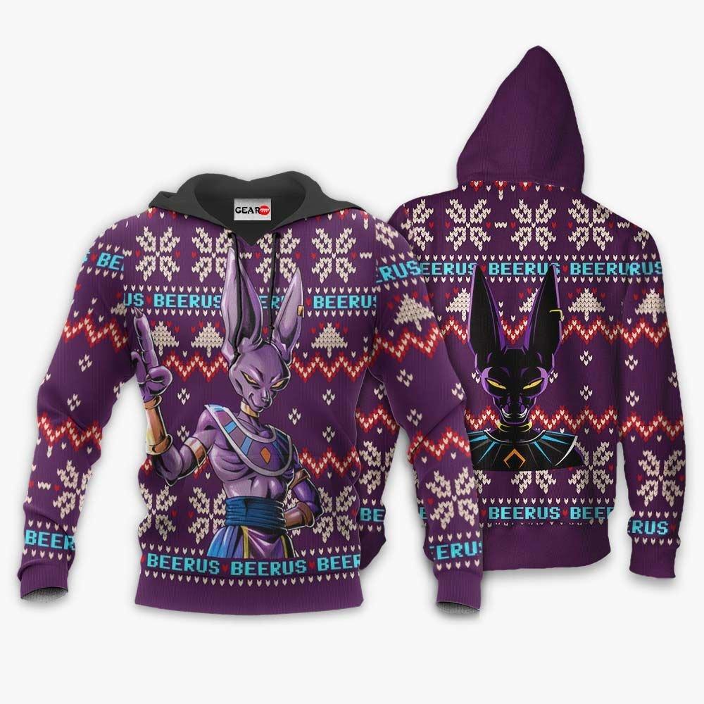 Beerus Ugly Christmas Sweater Custom Anime Dragon Ball Xmas Gifts GO0110