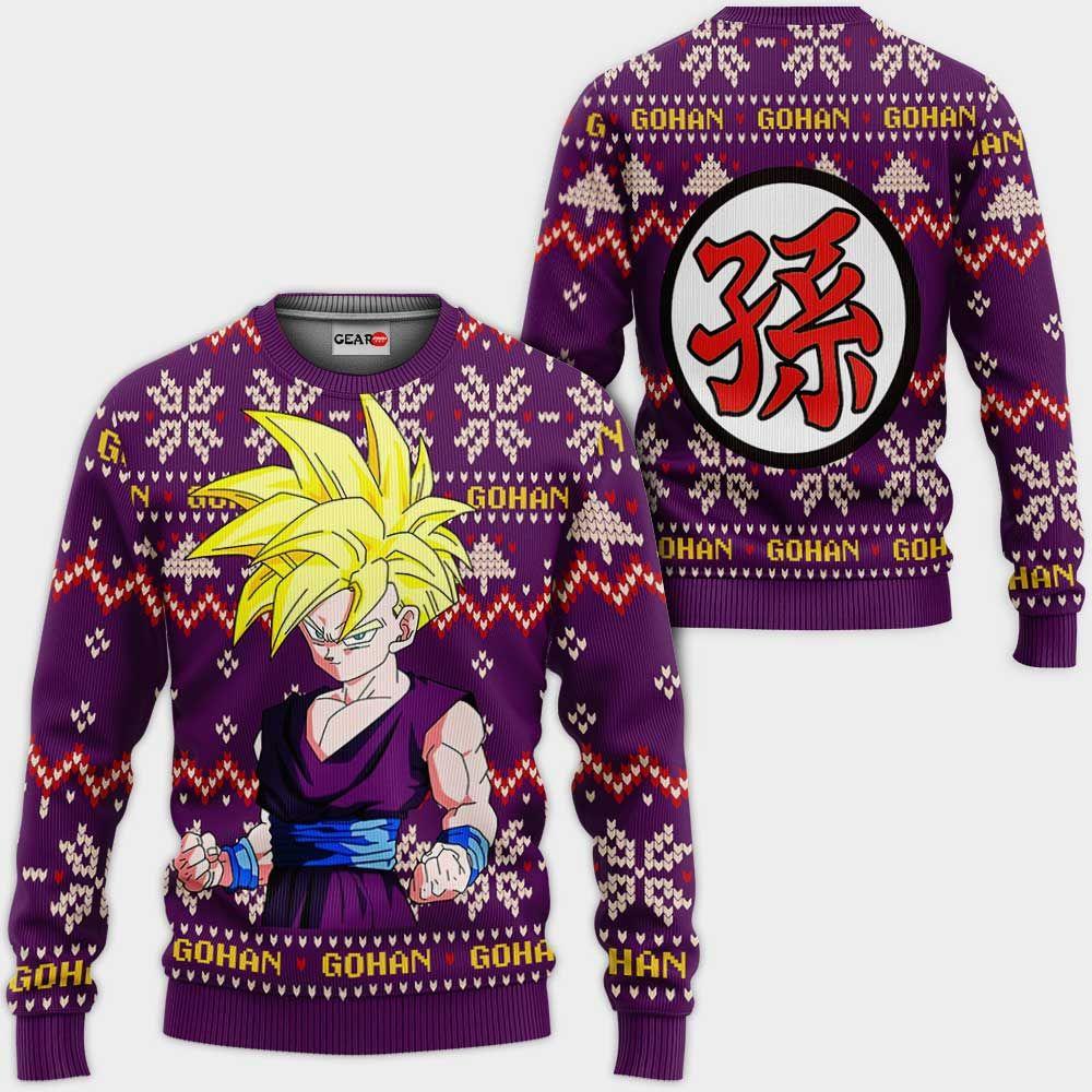 Gohan SJJ Ugly Christmas Sweater Custom Anime Dragon Ball Xmas Gifts GO0110
