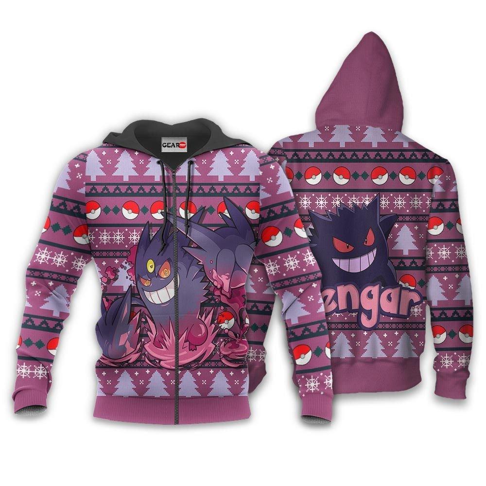 Gengar Ugly Christmas Sweater Custom Anime Pokemon Xmas Gifts GO0110