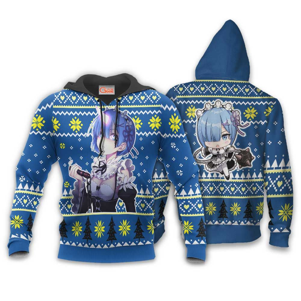 Re Zero Rem Ugly Christmas Sweater Custom Anime Xmas Gifts GO0110