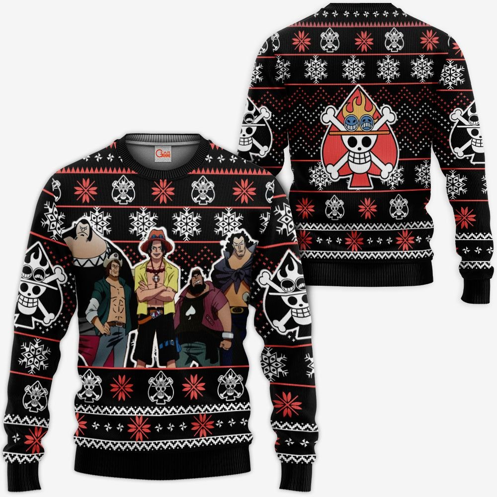 Ace Spade Pirates Ugly Christmas Sweater Custom Anime One Piece Xmas Gifts GO0110