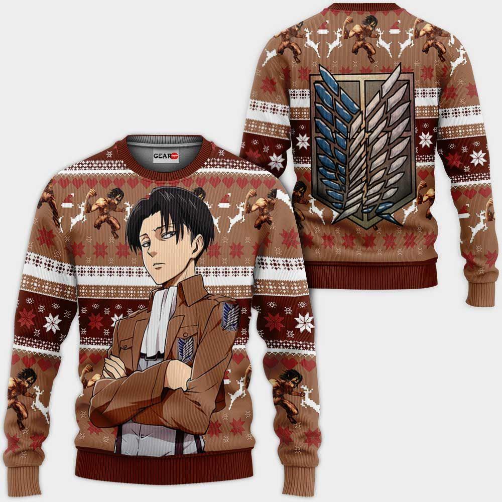 Levi Ackerman Ugly Christmas Sweater Custom Anime Attack On Titan Xmas Gifts GO0110