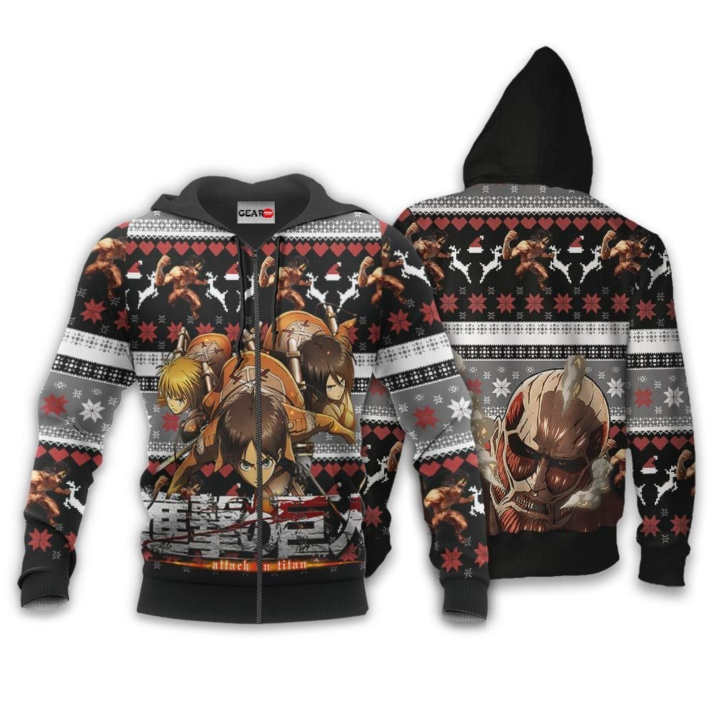 AOT Squad Ugly Christmas Sweater Custom Anime Attack On Titan Xmas Gifts GO0110