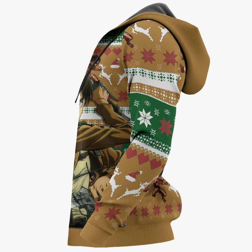 Eren Yeager Ugly Christmas Sweater Custom Anime Attack On Titan Xmas Gifts GO0110