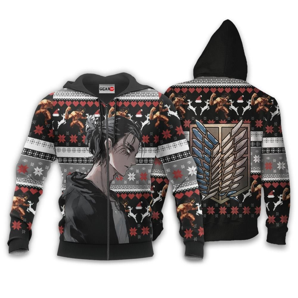 AOT Eren Ugly Christmas Sweater Custom Anime Attack On Titan Xmas Gifts GO0110