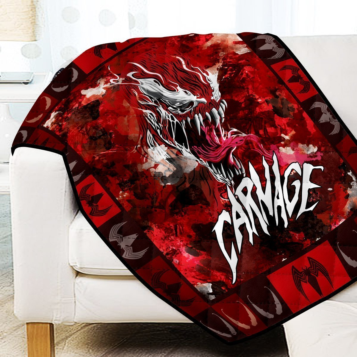 Carnage Symbiote Quilt Blanket V2 Official Merch FDM3009 Twin Official Otaku Treat Merch