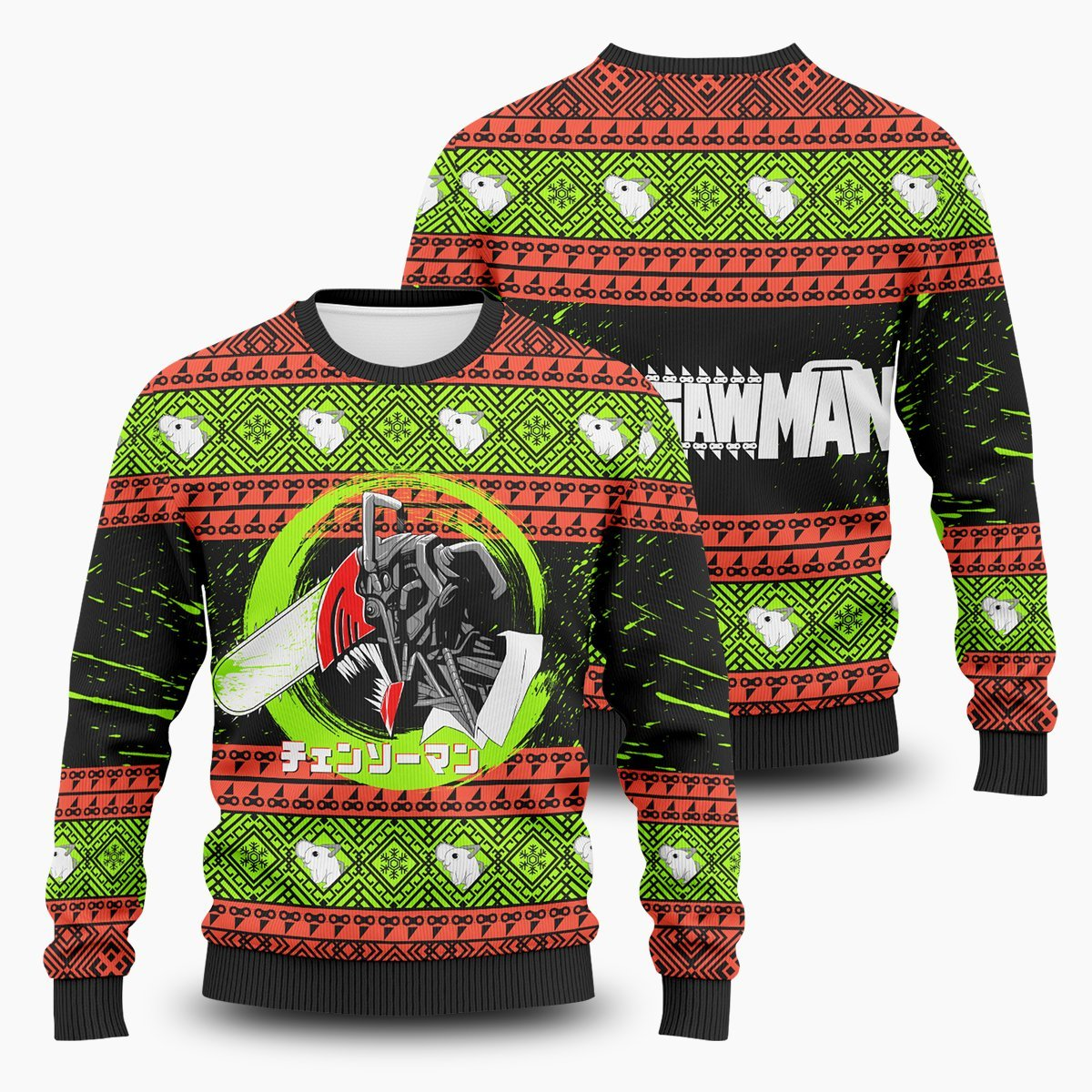 Chainsawman Xmas Unisex Wool Sweater FDM0310 S Official Otaku Treat Merch