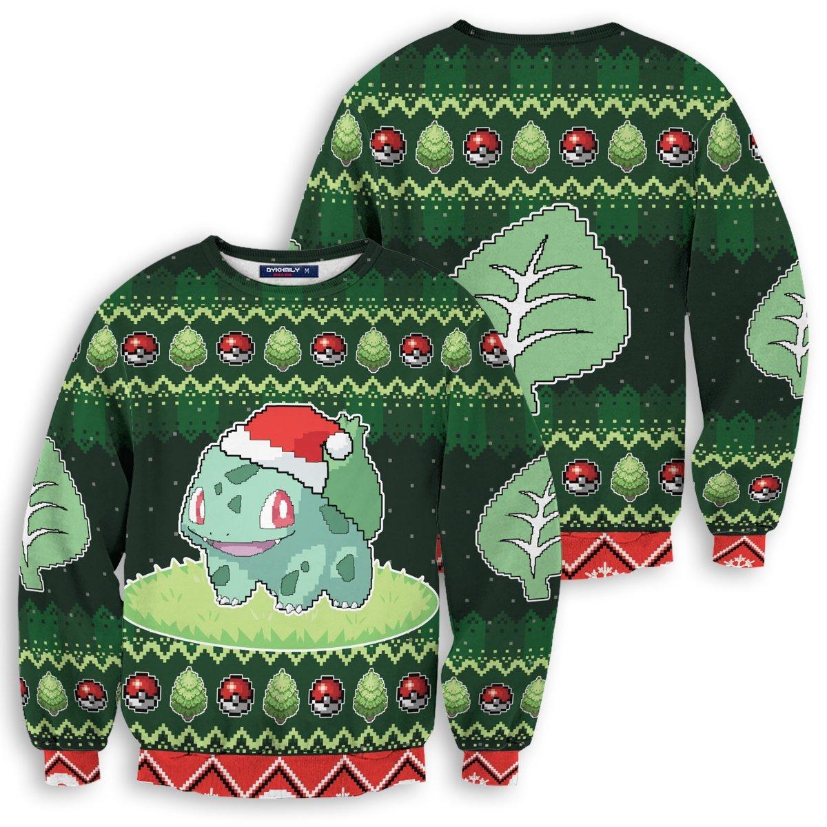 Christmas Bulbasaur Unisex Wool Sweater FDM0310 S Official Otaku Treat Merch