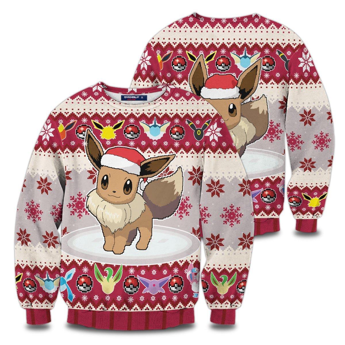 Christmas Eeveelution Unisex Wool Sweater FDM0310 S Official Otaku Treat Merch