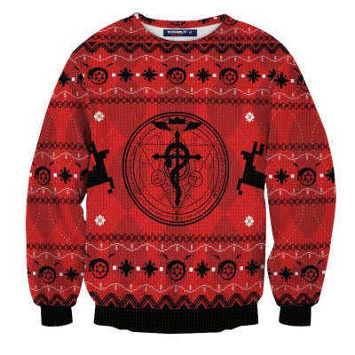 Fullmetal Alchemist Christmas Unisex Wool Sweater FDM0310 S Official Otaku Treat Merch