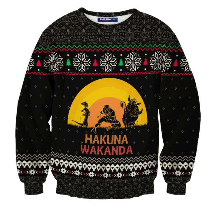 Hakuna Wakanda Christmas Unisex Wool Sweater FDM0310 S Official Otaku Treat Merch