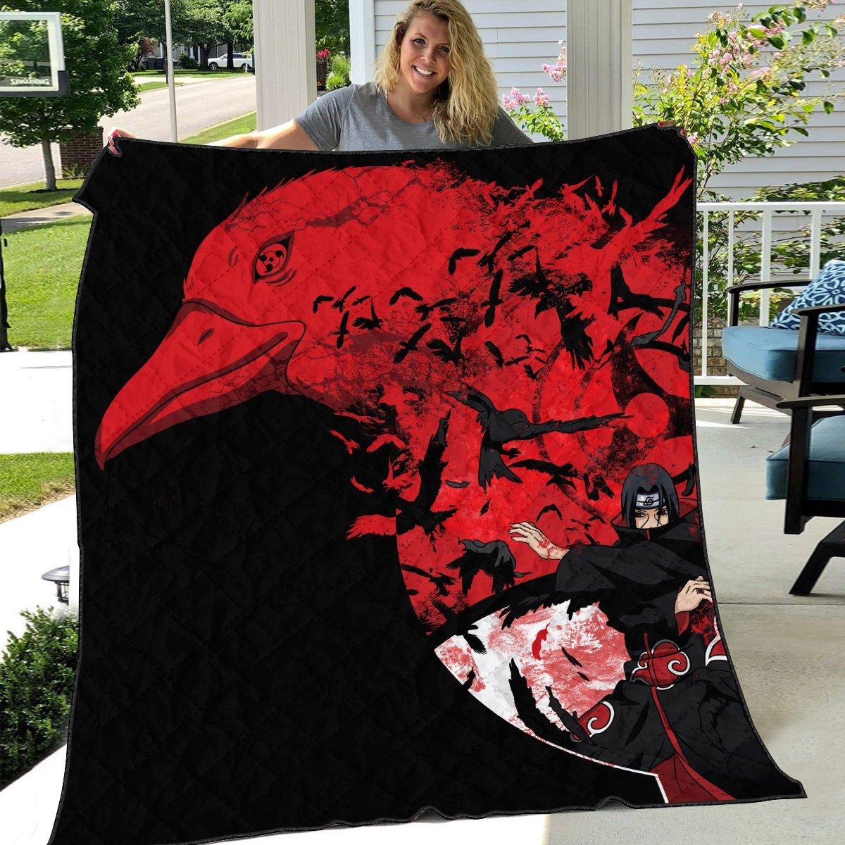 itachi summoning crow quilt blanket 268706 - Otaku Treat