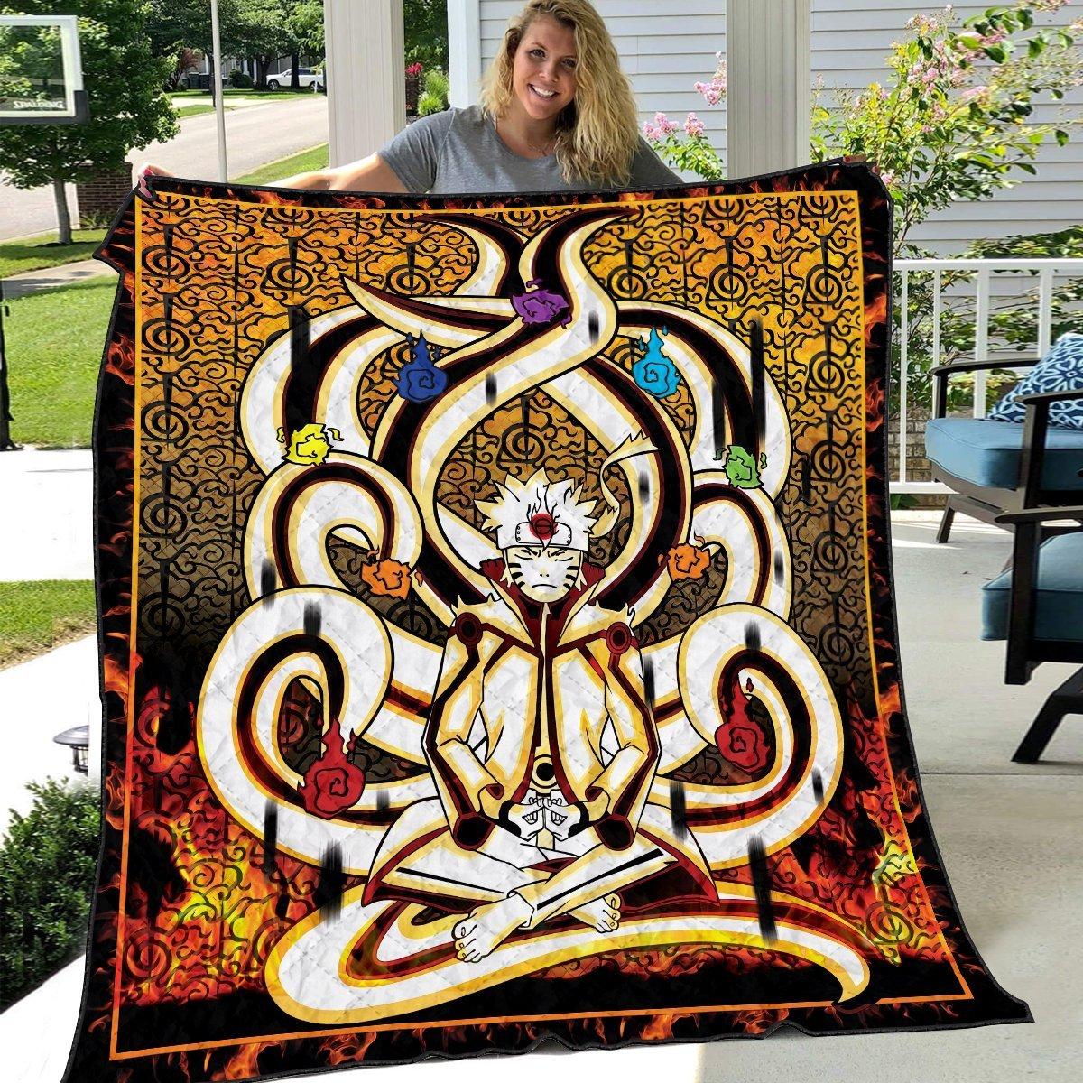 nine tails chakra mode quilt blanket 463748 - Otaku Treat